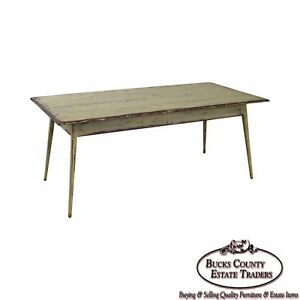 Custom Distressed Antique White Farmhouse Dining Table