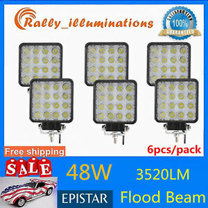 6x 48w Square Led Work Light Flood Lamp Offroad Truck Tractor Boat 4wd Jeep 12v
