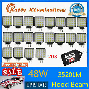 20x 48w 12v 24v Led Work Light Flood Light Offroad Atv Suv Boat Jeep Truck Spot