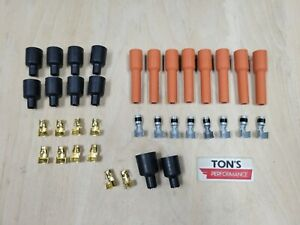 Universal V8 Orange Silicone Spark Plug Boot Kit Brass Ends Coil Wire 8 Cylinder