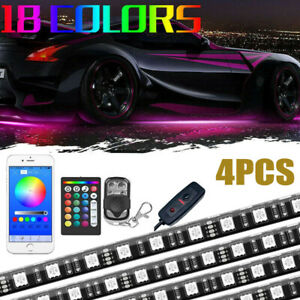 4pc Multi Color Car Truck Underglow Under Body Neon Accent Glow Led Lights Kit