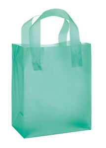 Plastic Shopping Bags Frosty 100 Aqua Blue Frosted Merchandise Gift 8 X 5 X 10