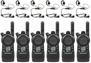 6 Motorola Cls1110 Uhf Business Two way Radios Hkln4604 Headsets
