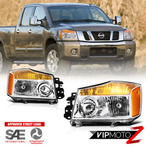 New Gen Design Factory Style Headlights Lamps Pair For 2004 2015 Nissan Titan