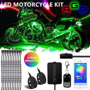 Motorcycle Led Neon Under Glow Lights Strip Kit For Harley Davidson Blue Tooth
