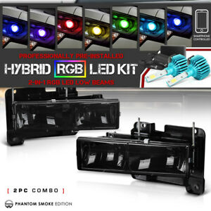 Color Changing Led Low Beam 88 98 Chevy Gmc Ck Silverado Suburban Headlights