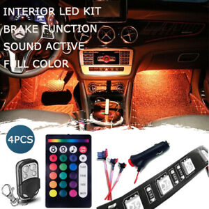 4pcs 12 Led Car Interior Underdash Lighting Strip Kit 18 Color Wireless Remote