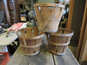 3 Old Antique Primitve Aafa Wood Fruit Harvest Baskets House Decor 7x9 Vc