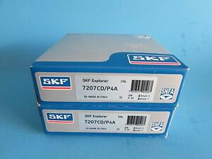 Skf 7207cd p4a Abec 7 Super Precision Spindle Bearings Matched Set Of Two