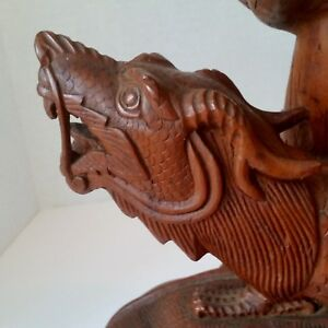 Lamp Carved Dragon Great Detail Serpent Form Mythical Monster Lamp Base Part