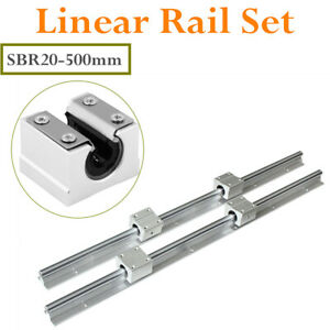 2set Sbr20 500mm 20mm Linear Slide Rail Shaft Cnc 4pcs Sbr20uu Bearing Block