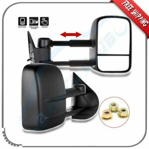 Manual Extend Towing Side View Mirrors For 2007 2014 Chevy Gmc 2500 3500hd Pair