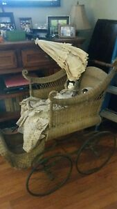 1800 S Antique Victorian Baby Carriage Pram With Parasol