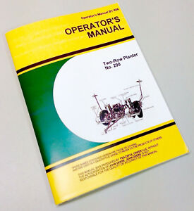 Operators Service Manual For John Deere Corn Planter Two Row No 290 Owners