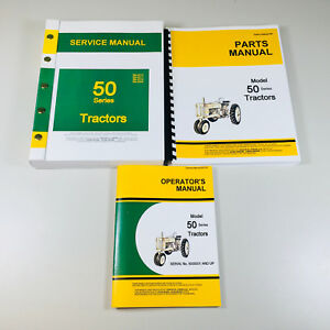 Service Manual Set For John Deere 50 Tractor Repair Parts Catalog Owner Operator