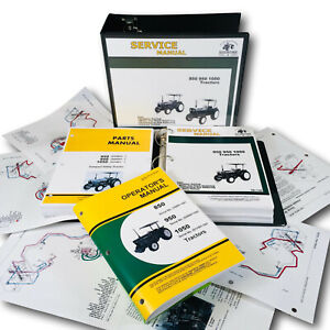 Service Manual Set For John Deere 850 950 1050 Tractor Parts Operators Catalog