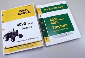 Service Manual Set For John Deere 4020 4000 Tractor Technical Shop Parts Catalog