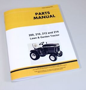 Parts Manual For John Deere 200 210 212 214 Lawn Mower Garden Tractor Catalog