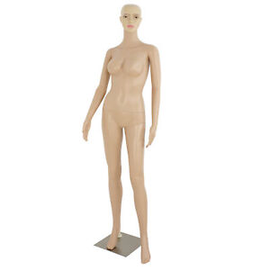 Plastic Female Mannequin Realistic Head Turns Dress Form Display Full W Base