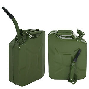 New 20l 5gallon Military Style Jerry Green Can Fuel Tank Storage Steel 2pcs
