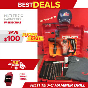 Hilti Te 7 c Hammer Drill preowned free Bits chisels Smart Watch Fast Ship