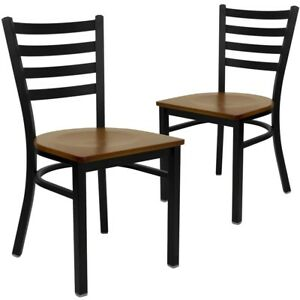 2 Pk Hercules Series Black Ladder Back Metal Restaurant Chair Cherry Wood