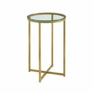 16 Round Side Table Glass gold