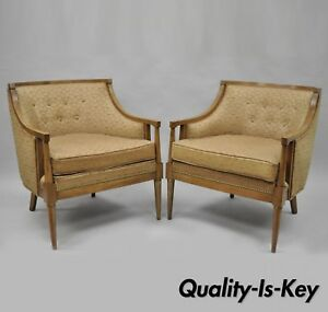 Pair Of Mid Century Modern Barrel Back Wood Lounge Club Chairs Paul Mccobb Style