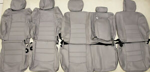2011 2012 Dodge Ram Crew Cab W Sport Bkts Grey Leather Upholstery Seat Cover Set