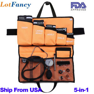 5 in 1 Palm Aneroid Sphygmomanometer Stethoscope Kit Adult Child Infant Cuff