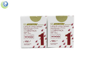 2x Gc Gold Label 1 Luting Lining Glass Ionomer Dental Cement Mini Pack 15g 10g