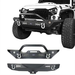07 18 Jeep Wrangler Jk Unlimited Front And Rear Bumper W D rings Led Lights