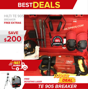Hilti Te 905 Avr Preowned Free Rotating Laser Chisels Plus Extras Fast Ship