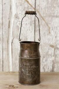 Set Of 2 Country 1843 Vintage Small Metal Decorative Milk Can With Handle