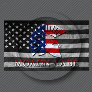 Molon Labe Sticker Decal American Flag Subdued Come And Take Them 300 Spartan