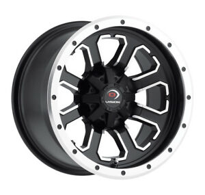 14 Inch 14x7 Vision 548 Commander Black Machined Wheel Rim 4x110 3