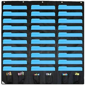 30 Pocket Storage Chart Hanging Wall File Organizer W 6 Accessory School Black
