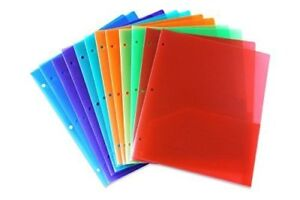 Stemsfx Embossed Plastic Folders Hole Punched 2 Assorted Colors Pack Of 12
