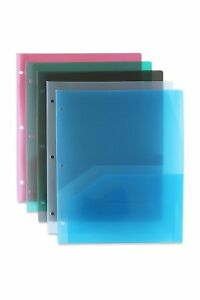 Stemsfx Clear Heavy Duty Plastic 2 Pocket Folder Hole Punched For Letter Size