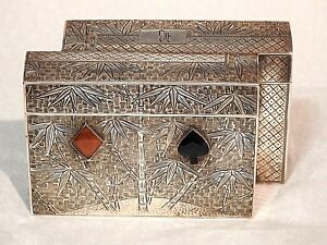 Victorian Antique Japanese Meiji 950 Silver Playing Card Engraved Jeweled Case
