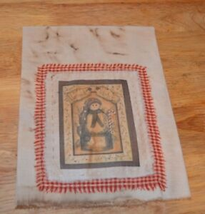 Stained Muslin Decorative Christmas Dish Towel Kitchen Primitive Snowman
