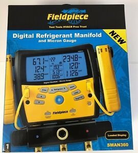 New Fieldpiece Sman360 3 port Digital Manifold With Micron Gauge