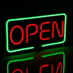 Open Led Neon Light Sign 19 7 X 9 8 Bright Red Green Letter Rectangle Window