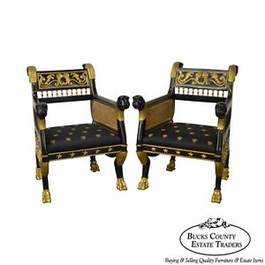 Regency Style Ebonized Partial Gilt Pair Of Lion Head Library Arm Chairs