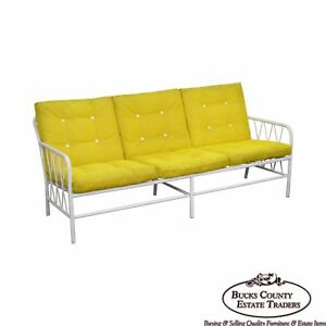 Mid Century Modern Brown Jordan Style White Patio Sofa W Yellow Cushions