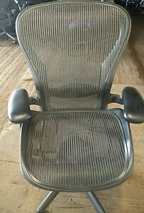 Herman Miller Aeron Mesh Office Desk Chair Large C Fully Adjustable Lumbar Grey
