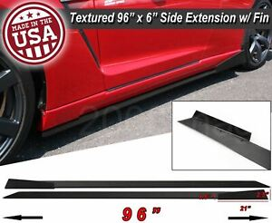 96 X 6 Extension Flat Bottom Line Lip Side Skirt W Fin Diffuser For Nissan