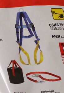 3m Aerial Lift Fall Protection Kit Harness Lanyard Storage Bag New