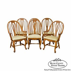 Richardson Brothers Solid Oak Windsor Style Set Of 6 Dining Chairs