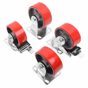 4 Red Brake Wheel Caster 5 Wheel All Swivel Heavy Duty Iron Hub No Mark Casters